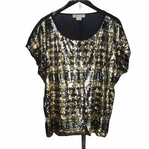 Michael Kors Gold and Navy Sequin Blouse 1X NWT
